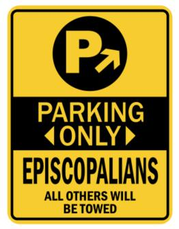Parking Only Episcopalians - Sign Parking Sign