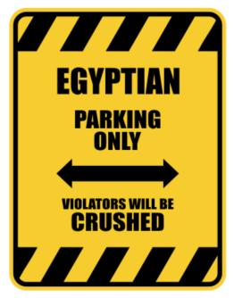 Crushed Egyptian Parking Sign