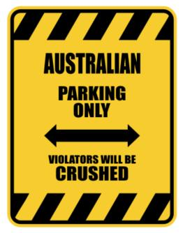 Crushed Australian Parking Sign