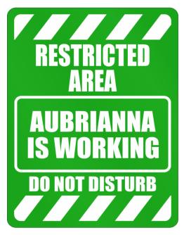 """ Restricted Area. Aubrianna is working - Do not disturb "" Parking Sign"