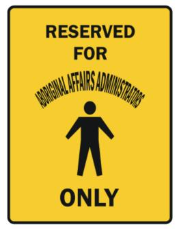 Reserved For Aboriginal Affairs Administrators Only Parking Sign