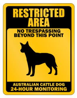 Restricted Area No Trespassing Beyond This Point Australian Cattle Dog Parking Sign