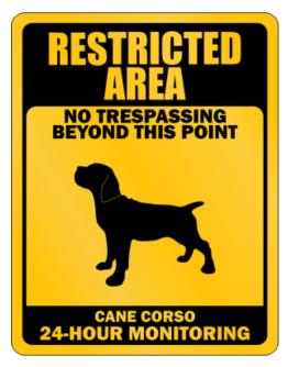 Restricted Area No Trespassing Beyond This Point Cane Corso Parking Sign