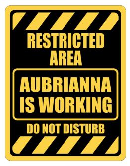 """ RESTRICTED AREA : Aubrianna IS WORKING "" Parking Sign"