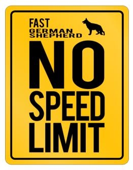 """ FAST German Shepherd - NO SPEED LIMIT NONE "" Parking Sign"