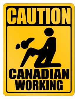 Caution Canadian Working Parking Sign