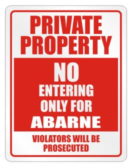 Private Abarne Prosecuted Parking Sign