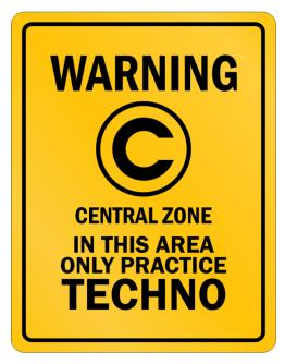 Parking Sign de Warning In this area only practice Techno