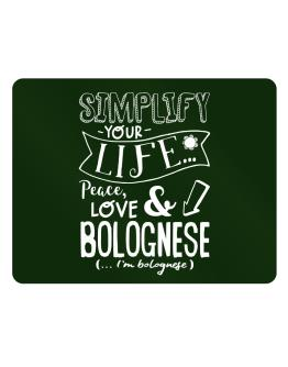 Simplify your life: Peace, love and Bolognese Parking Sign - Horizontal