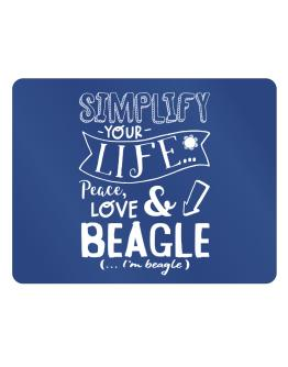 Simplify your life: Peace, love and Beagle Parking Sign - Horizontal