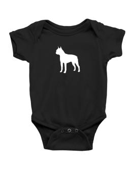 Boston Terrier Silhouette Embroidery Baby Bodysuit