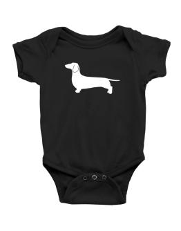 Dachshund Silhouette Embroidery Baby Bodysuit