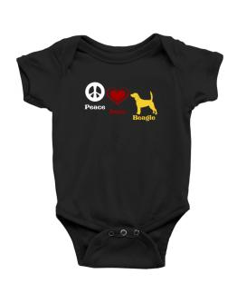 Peace, Love, Beagle Baby Bodysuit
