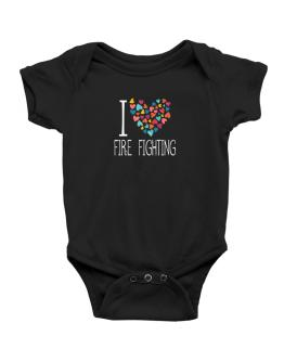 I love Fire Fighting colorful hearts Baby Bodysuit
