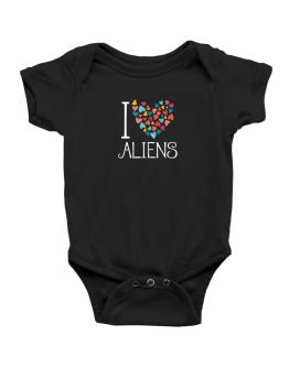 I love Aliens colorful hearts Baby Bodysuit