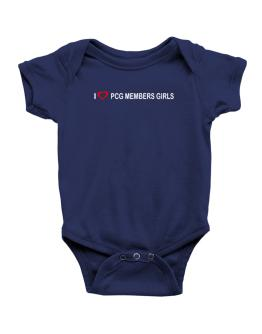 I love Pcg Members Girls Baby Bodysuit