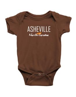 """ Asheville - State Map "" Baby Bodysuit"