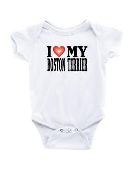 I Love Boston Terrier Baby Bodysuit