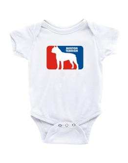 Boston Terrier Sports Logo Baby Bodysuit