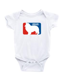 Shetland Sheepdog Sports Logo Baby Bodysuit