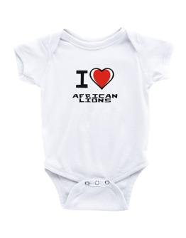I Love African Lions Baby Bodysuit