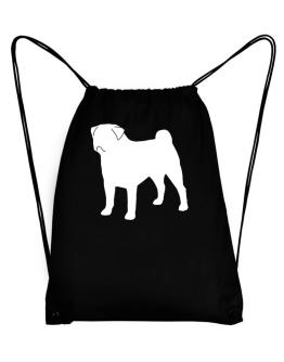 Pug Silhouette Embroidery Sport Bag