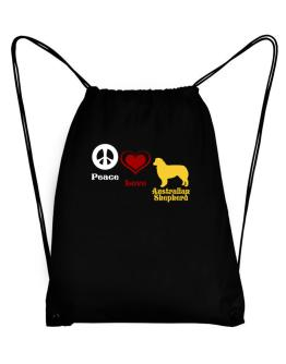 Peace, Love, Australian Shepherd Sport Bag