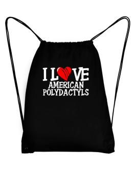I Love American Polydactyls - Scratched Heart Sport Bag