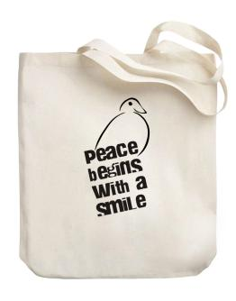 Peace Begins With A Smile Canvas Tote Bag