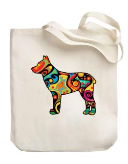 Psychedelic Australian Stumpy Tail Cattle Dog Canvas Tote Bag