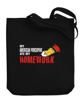 My American Porcupine Ate My Homework Canvas Tote Bag
