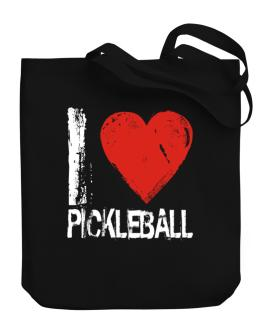 I Love Pickleball Canvas Tote Bag