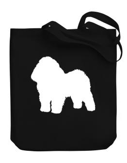 Bolognese Silhouette Embroidery Canvas Tote Bag