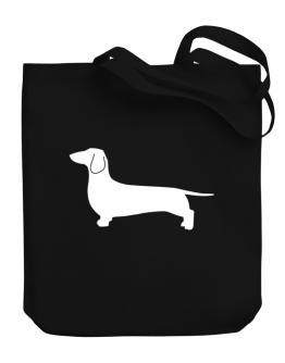 Dachshund Silhouette Embroidery Canvas Tote Bag