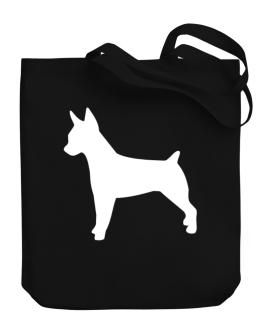 Rat Terrier Silhouette Embroidery Canvas Tote Bag