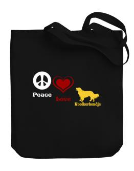 """ Peace, Love, Kooikerhondje "" Canvas Tote Bag"