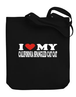 I Love My California Spangled Cat Canvas Tote Bag