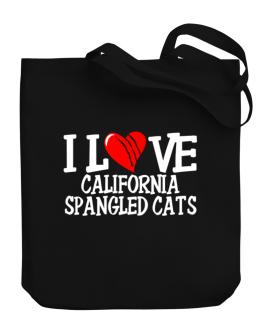 I Love California Spangled Cats - Scratched Heart Canvas Tote Bag