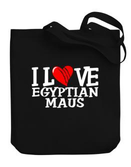 I Love Egyptian Maus - Scratched Heart Canvas Tote Bag