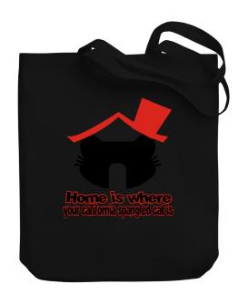 Home Is Where California Spangled Cat Is Canvas Tote Bag