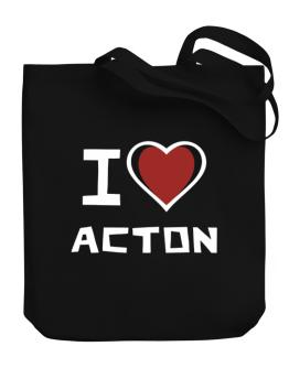 I Love Acton Canvas Tote Bag