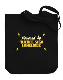 Powered By Quebec Sign Language Canvas Tote Bag