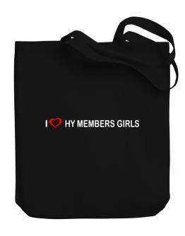 I love Hy Members Girls Canvas Tote Bag