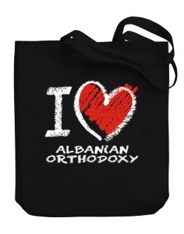 I love Albanian Orthodoxy chalk style Canvas Tote Bag