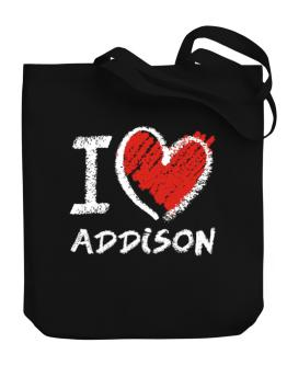 I love Addison chalk style Canvas Tote Bag