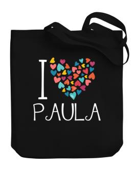 I love Paula colorful hearts Canvas Tote Bag