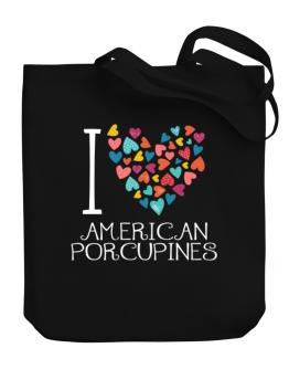 I love American Porcupines colorful hearts Canvas Tote Bag