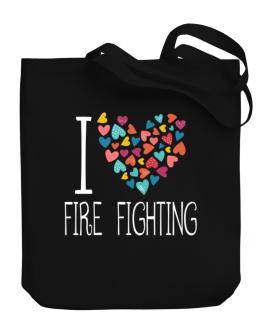 I love Fire Fighting colorful hearts Canvas Tote Bag