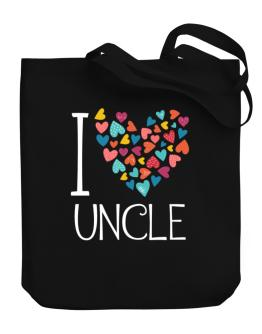 I love Auncle colorful hearts Canvas Tote Bag
