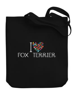 I love Fox Terrier colorful hearts Canvas Tote Bag